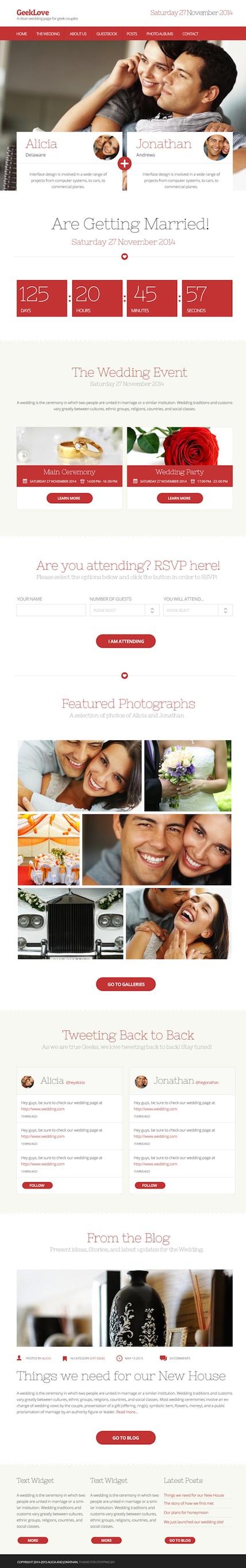Responsive Wedding WordPress Theme - Geek Love