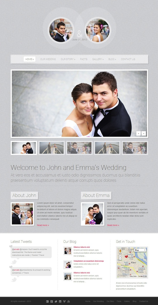 Responsive Wedding WordPress Theme - Getting Married