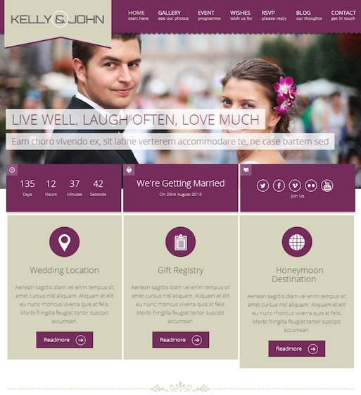 Responsive Wedding WordPress Theme with RSVP and Event Planning - Soul