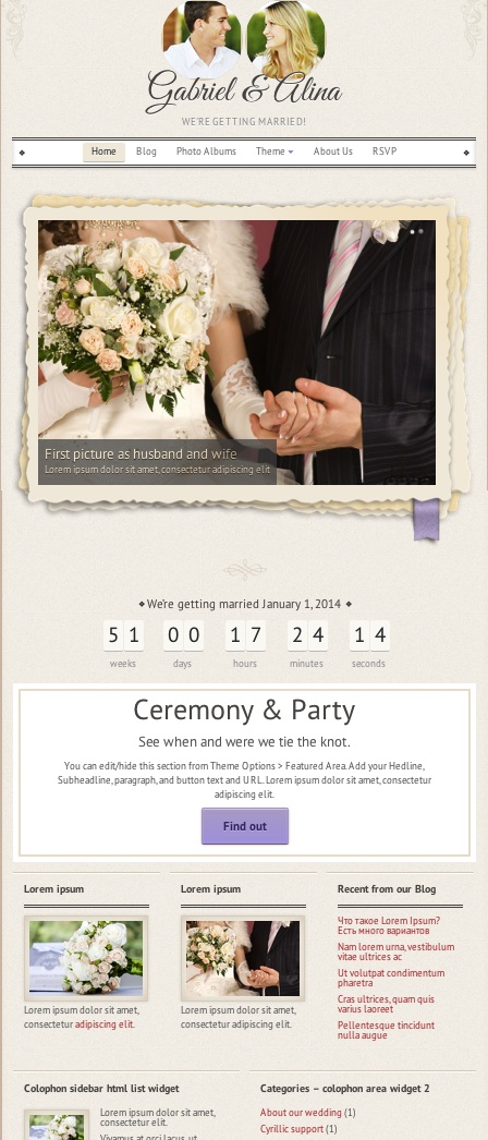 Responsive Vintage Wedding WordPress Theme