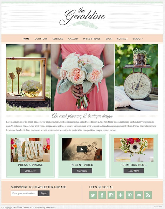 Geraldine Wedding WordPress Theme