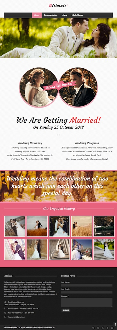 Responsive Professional Wedding WordPress Theme - Ultimate